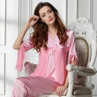 new 2014 lace women pajama sets / elegant embroidery women sleepwear quality summer nightgown pajamas Free shipping