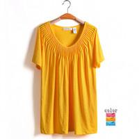 3Color 5XL 6XL 8XL Casual Women Beading Blouse Tee Novelty Top T-shirt Plus Big Size Oversize 6XL XXXXXL XXXXXXL 2014 New Summer