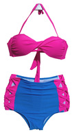 2014 Popular  High Waist Bikini Conservative Swimsuits  Swimwear Beachwear Print Bikinis Set  Free Shipping1411C