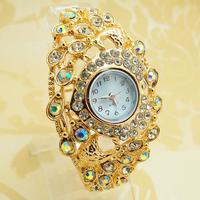 Luxury New Arrival 4 Designs Rose Gold Tone Bangle Cuff Watch Women Ladies Sparkling Crystal Dress Quartz Wrist Watch PB-3
