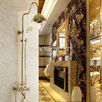 "Luxury Golden Polish Solid Brass Bathroom Bath Rainfall 8"" Shower Head Set Faucet  se155"