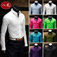 SALE 2014 Men Slim Fit Casual Mens Dress Shirts Long-sleeved Shirt men camisa roupas masculina blusa hombre Men's Social Shirts