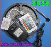 5m 3528 RGB color changing 300 LED waterproof IP65 fleixble strips set + 24 Keys IR remote controller + 12V 2A 24W power adapter