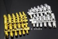 Big Sale 2014 Hot Full Cover False Nail Tips Gold &Silver Metal Fake Nails Extension Decorated Makeup Kits 240pcs/Lot Wholesale