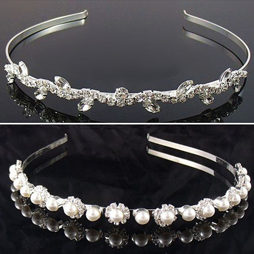 New 2014 Women Wedding Hair Accessories Bride Jewelry Bling Rhinestone Pearls Hairbands
