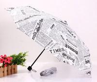 2014 free shipping fashion creative newspaper umbrella three folding rain umbrella Rechar028