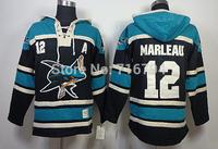 Free shipping San Jose Sharks 12 Patrick Marleau Black Sewn on Logo Hockey Hoodie cheap Old Time Hockey Hooded top quality