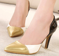 New 2014 Fashion Women Classic 9 CM Single Sexy GOLD+SILVER Pumps Ladies Simple Shoes Pointed Toe High Heels