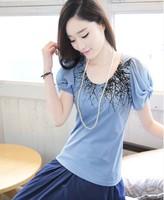 2014 new chiffon women's plus size slim print chiffon puff sleeve cotton women's t-shirt short sleeve blouses