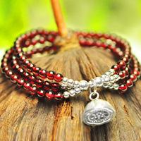 Trecsure 5a claretred natural garnet bracelet female multi-circle 925 pure silver crystal bracelets accessories