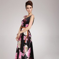 2014 European and American Women's Long Summer Dress Sleeveless O-neck Senior Brocade Print Maxi Dress With Belt
