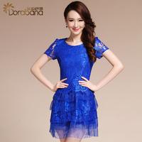High quality dora women's 2014 summer elegant gentlewomen dress layered organza lace one-piece dress