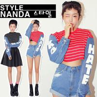 new south Korean stylenanda navy style stripe denim patchwork short design long-sleeve t-shirt women