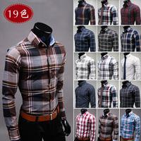SALE Top Quality Plaid Shirt Men 2014 Slim fit long Sleeve camisa Social xadrez masculina Mens dress shirts 19colors M-XXXL