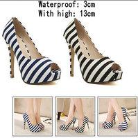 BLUE+BLACK New 2014 Hot Selling Lady's Sexy High Heels Peep Toe sweetness High Heels Pumps Wedding sandals Shoes Eur Size 34-39