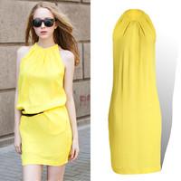 Spring 2014 summer new fashion Halter sleeveless dress yellow blue chiffon cute sexy elegant loose plus size 5XL XXL brand Slim