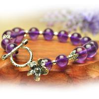Natural amethyst bracelet vintage sweet 925 pure silver flower bracelet transhipped bracelet female natural crystal accessories