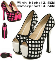 New 2014 Preorder Sexy Pumps Sexy Party Shoes Wedding heels Stiletto Open Toe Black and White Pumps Platform High Heel Shoes