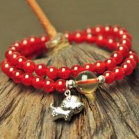 Top natural red agate bracelet red zodiac horse multi-layer thai silver 925 pure silver bracelet