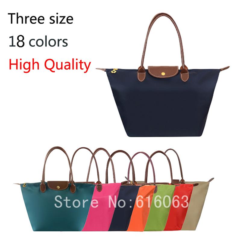 High Quality Nylon Women Leather Handbags Fashion Designer Brand Handbag Purses Folding Dumpling Tote shoulder Bags wholesale(China (Mainland))