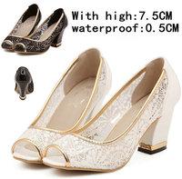Hot Sale Summer Wedges Pumps BLACK+WHITE Sandals Female Shoes Women Platform Shoes Lace Open Toe High-Heeled Shoes