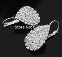 Silver Plated Teardrop Rhinestone Dangle Earrings