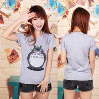 New 2014 SUMMER high quality cotton Women t-shirt cartoon Totoro Design Fashion Short Sleeve cartoon totorons  t-shirt
