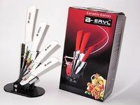 BERYL print flower 5pcs set , 3456 kitchen knives+stand+ color box,Ceramic Knife sets  ABS handle,white blade