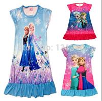 Frozen pajamas Summer Nightgowns Sophia Princess Girl print dora Cartoon frozen dress for girls sleepwear polyester kids pajames