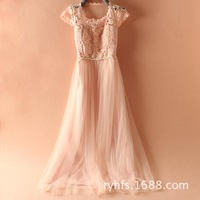 2014 spring and summer women dress \ hand-beaded \ stitching lace \ sleeved chiffon evening dress - Free Shipping
