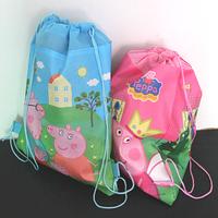 20pieces/lot wholesales cartoon peppa pig drawstring bag backpack for children kids boy pepa shopping bag