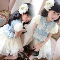 Free shipping Children Cowboy Dress 2014 New Summer Fashion Girls Denim+Volie Princess Dress Short-sleeve Dress High Quality
