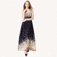 Beatiful Flower Women Summer Dresses 2014 New Fashion Sleeveless Floral Printed Bohemian Chiffon dress with Belt