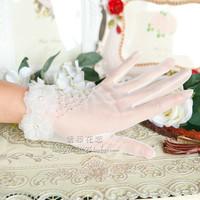 TBG1 Short design handmade beads diamond wedding dress gloves bride crystal bridal gloves