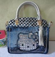 Women Luxury Small Handbag Kitty Cat Rhinestones Silver PU Leather Tassel Woven Denim Messenger Bags Fashion Socialite Leisure