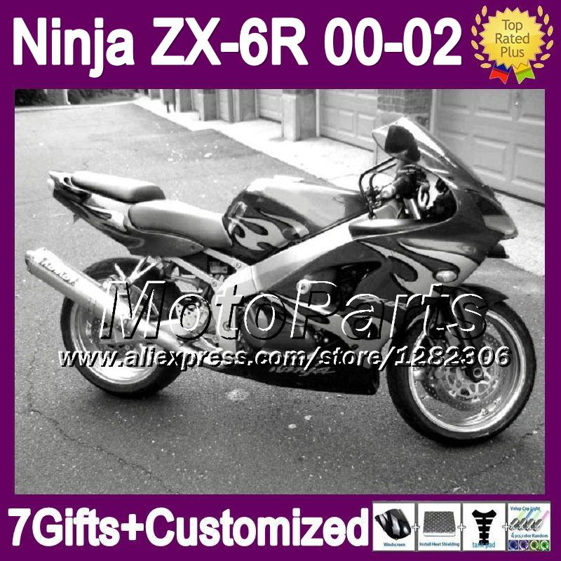 7giftsFor 00 01 02 black silver KAWASAKI ZX6R ZX 6R 6 R ZX-6R 2000 2001 2002 *7443 NINJA ZX636 silvery flames ZX-636 Fairing(China (Mainland))