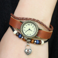 Electronic 2014 New Women Genuine Leather Vintage Watches, Glass Beads Bracelet Watches Plating Ancient Bronze Keyhole Pendant