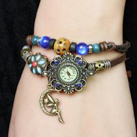 New 2014 Women Genuine Leather Vintage Watches, Glass Beads Women Rhinestone Watches Plating Ancient Bronze Angel Pendant