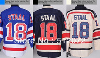 New York #18 Marc Staal Men's Authentic Home Blue/Third Navy/2012 Winter Classic Cream Hockey Jersey