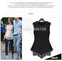 2014  Summer new doll women chiffon lace shirt shirt bottoming shirt sleeveless tops