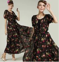 2014 New Fashion Summer Vintage National Trend Lacing Short-sleeve Female Long Dress