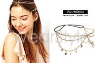 Gold Leaf Clear Rhinestone headband head chain Elastic Hair Bands wedding Hair Accessories For Women