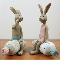 American country resin crafts home furnishing articles creative couples rabbit sat carrots C21-2012509