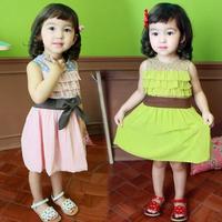 2014 summer new Korean models Polka Dot Girls lace chiffon vest skirt baby child qz-0048