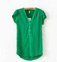 2014 New Fashion Women summer Imitated Silk Short Sleeve shirt top Solid Color Chiffon Blouse womens free shipping