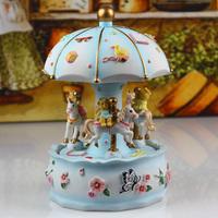 Carousel music box happy bear rotating music box blue christmas gift birthday gift