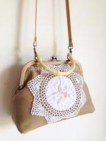 Khaki linen canvas handmade crochet embroidery vintage female handbag