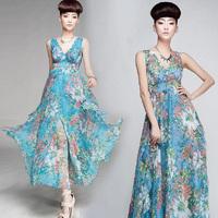 2014 summmer  one-piece chiffon dress chiffon  bohemia beach dress expansion bottom long dress