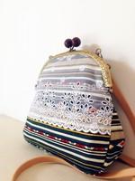 Linen print lubai geometry color block vintage national trend lace embroidery handmade women's handbag bag