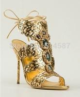 Sexy Filigree Golden Sandals High Heels Baroque Jewel Laser-cut Sandals